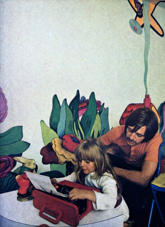 "Photo: Tim Street Porter. First Children's room Mural 1969. was published in Queen and Vogue Magazines, led to creating ""Alice in Wonderland"" for Julie Christie. Sonya on Olivetti Tim doing Product placement  for Sotsas ""hot off the press."